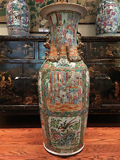 A Rare Monumental Chinese Export Porcelain Rose Medallion Palace Vase.