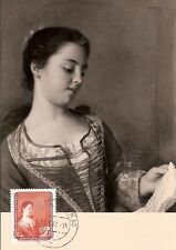 Maximum Card Maximumkarte Germany DDR Painter 1961 Liotard / reading lesen