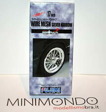 "WIRE MESH SILVER NARROW 17"" TYRE WHEEL SET CERCHI E GOMME 1/24 FUJIMI 19281"