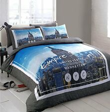 New York City Empire State Bedding Double Duvet Quilt Cover & Pillowcase Bed Set