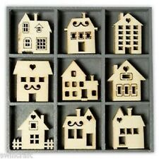 BOX OF 45 WOODEN SHAPES ORNAMENTS HOUSES 1013