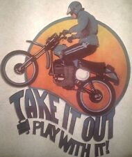 "Vintage 70s ""Take It out & Play With It!"" Iron-On Transfer Motorcycle Rider RARE"