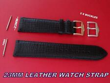 QUALITY LEATHER STRAP BAND 23MM WIDE  + FREE 2 X BUCKLES + FREE SWISS BAR SET