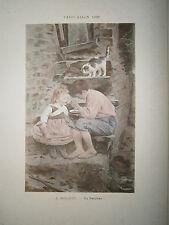 Gravure 19° 1899 couleur Peinture A. Robaudy La becquée chat enfants