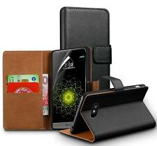 Genuine Real Leather Wallet stand case for LG G5 & Screen Guard