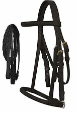 Horse Size BLACK English Raised Bridle Includes Matching Laced Rein New Tack