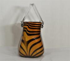 Vintage Art Glass Animal Print Handbag Vase, Light, Dark Brown Stripe