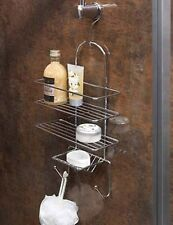 CHROME TRIPLE  SHOWER CADDY SHELF BASKET BATHROOM SHOWER TIDY ORGANISER + HOOK