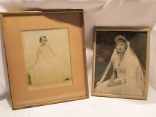 2 Vintage Bride Wedding Framed Photos - 1940s 1950s - Veil