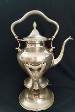 ANTIQUE SOLID STERLING SILVER TEA KETTLE & BURNER STAND, 1475g, Shreve &co.