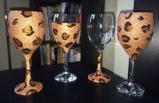 Gorgeous Glitter Leopard Print Wine Glass