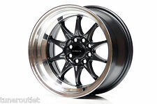 "ULTRALITE UL48 15"" x 8 ET0 4x100 4x108 DEEP DISH GUN METAL ALLOY WHEELS Y2366"