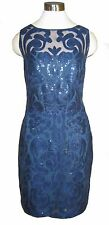 14 RALPH LAUREN Navy Blue Nude Sequin Mesh Sheath Dress NWT $240 Sleeveless K/L