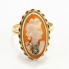 VTG 14K Yellow Gold - 1940s Art Deco Diamond Cameo Ring Size 7 - 2.9g