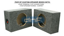 "1 PAIR CUSTOM 6-1/2"" SQUARE SPEAKER BOX (CARPET + TERMINAL CUPS + SPEAKER WIRE)"