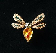 Vintage Antique Gold Crystal Rhinestone Bumble Bee Fashion Brooch/Pin