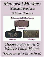 Whitehall Memorial Dedication Plaques - 3 Plaque Styles - 2 Mounts - 17 Colors