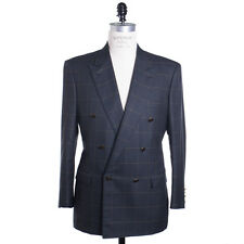 Brioni Size 42 Plinio Double Breasted Jacket in Green Wool Silk