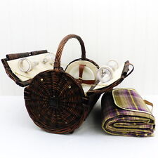 Stamford 4 Person Picnic Basket with Traditional Style Purple Picnic Blanket