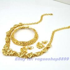 REAL EXQUISITE 18K YELLOW GOLD GP SET BUTTERFLY NECKLACE BRACELET EARRING SOLID