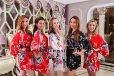 Women Robe Bridesmaid set of 9 gowns and bride wedding party robes satin Dress70