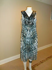 Women's Plus Apt.9 Sublimation Crochet Trim Maxi Dress Hi Lo Black/White Sz:0X