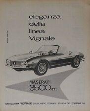 Advert Pubblicità 1964 MASERATI 3500 GTI SPIDER VIGNALE
