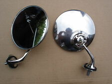 PAIR Polished Stainless Steel Wing Mirrors Morris Minor Ford Consul Jaguar Mk2