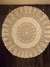 "HERITAGE LACE IVORY SNOWMAN AND XMAS TREES 7O"" ROUND TABLECLOTH NWOT ITEM 7055"