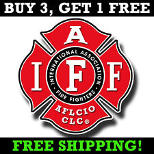 "IAFF 4"" Decal - Firefighter Maltese Cross Sticker AFL-CIO Bumper Sticker"