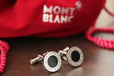 MONTBLANC PLATINUM PLATED CUFF LINKS WITH BLACK ONYX