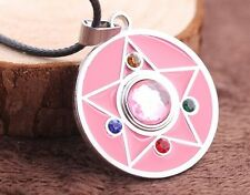 Anime Sailor Moon Pink Diamond Star Metal Pendant Necklace with String