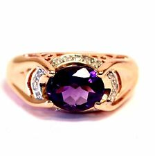 10k rose gold womens SI2 H diamond .16ct amethyst ladies ring 5.2g estate