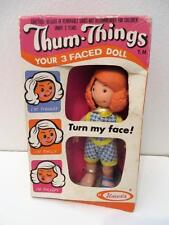 Vintage 1973 70's Uneeda doll 3 different faces Thum Things thumb in box redhead