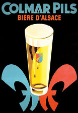 Art Ad   French Beer Colmar Pils Alsace  Drink Pub Bar  Poster Print
