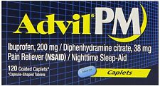 Advil PM Pain Reliever/Nighttime Sleep Aid Caplets 120ct FREE WORLDWIDE SHIPPING