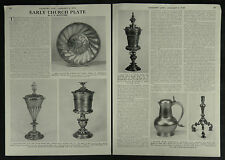 Antique Early Church Ecclesiastic Plate Silver History 1955 2 Page Photo Article