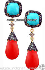 Estate Vintage 2.20cts Rose Cut Diamond Turquoise Coral Jewelry Silver Earring