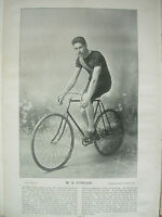 THE SPORTFOLIO PORTRAITS 1896 VINTAGE CYCLING PHOTOGRAPH PRINT M.B. FOWLER