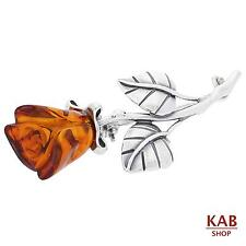 COGNAC BALTIC AMBER STERLING SILVER 925 JEWELLERY BROOCH SMALL ROSE, KAB-158