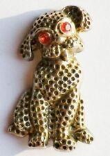 broche bijou vintage chien relief finement travaillé couleur or patiné * 3364