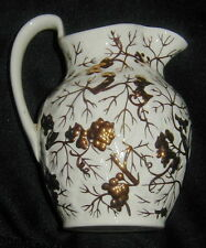 VINT. WEDGWOOD OF ETRURIA & BARLASTON PITCHER, CREAMER, HAND PAINTED GOLD GRAPES