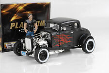 1932 FORD 5 WINDOW HOT ROD Custom Nero Opaco fiamme rosso 1:18 Motormax O. FIG