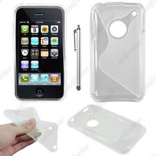 Housse Etui Coque Silicone Motif S-line Transparent Apple iPhone 3GS 3G + Stylet
