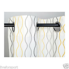 "Ikea Henny Rand Curtains 1 Pair White Gray Yellow 57 x 98"" 100% Cotton 2 Panels"