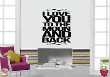 Wall Sticker Quotes Words Inspire I Love You To The Moon And Back  z1462