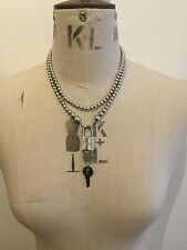 GENUINE CHRISTIAN DIOR BEADED PADLOCK NECKLACE WITH KEYS