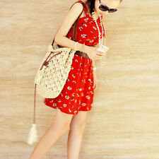 Women Summer Straw Woven Bags Bucket Tassles Handbag Shoulder Bag Beach Tote