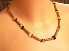 "Hazelwood and natural Baltic amber  necklace 19""   NN163"