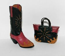 JC Penney CASUAL BOOT Western Cowgirl Cowboy Black Red Tan Shoe HANDBAG Ornament